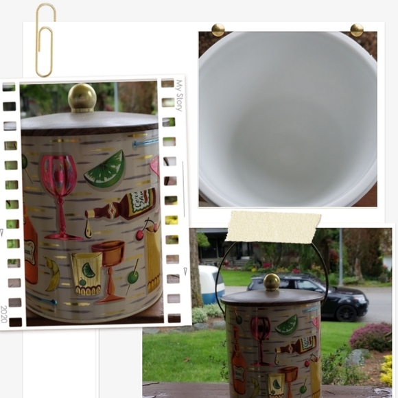 Vintage retro metal ice bucket with plastic liner